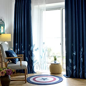 Melodieux Wheat Embroidery Faux Linen Blackout Wide Curtains for Living Room Patio Door Large Window Grommet Drape, Navy/Blue, 100 by 84 Inch (1 Panel)