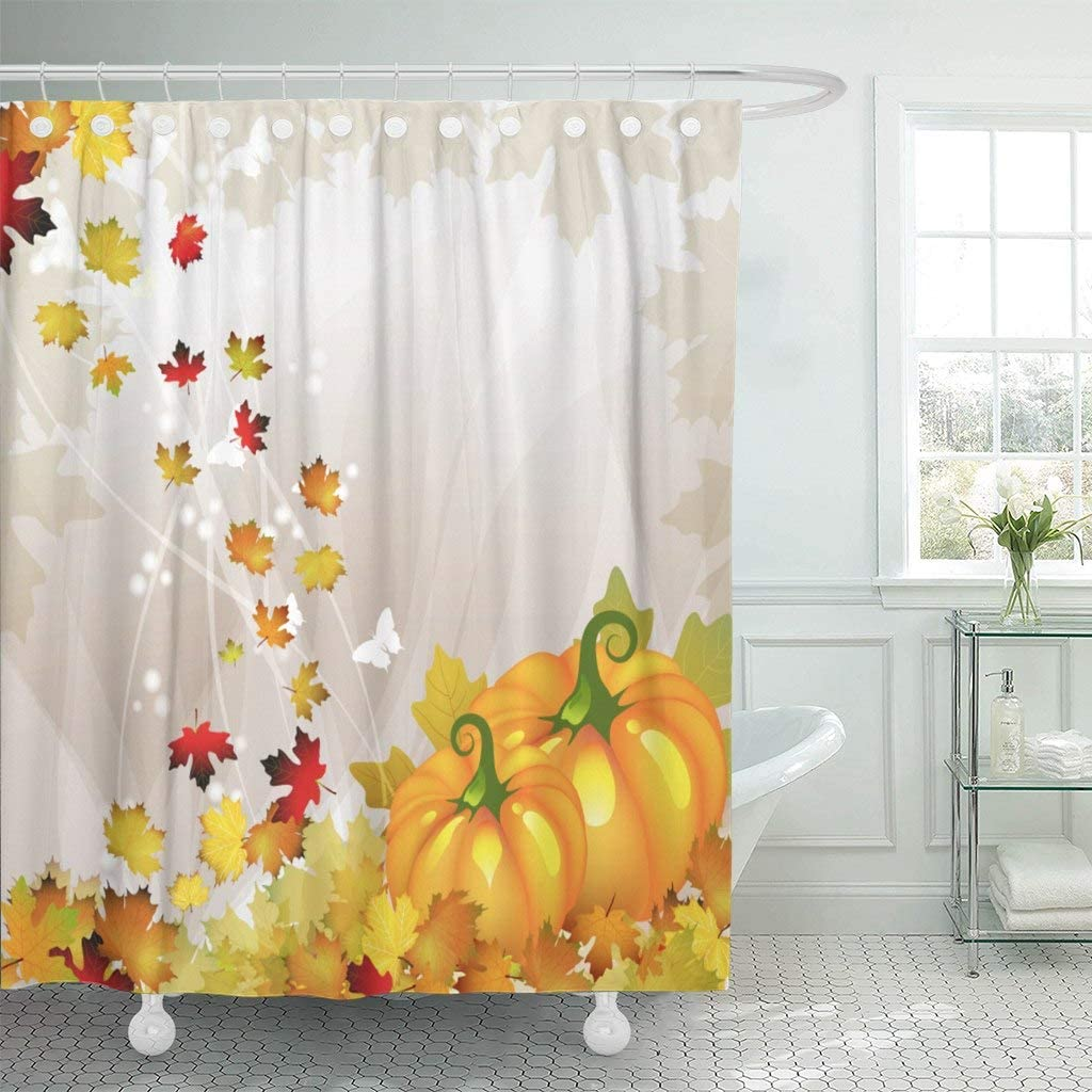 """Emvency Fabric Shower Curtain Curtains with Hooks Leaf Orange Pumpkin Vegetable with Tree and Fall Leaves Autumn Autumnal Crop Drawing Drawn Flora Floral 72""""X72"""" Waterproof Decorative Bathroom"""