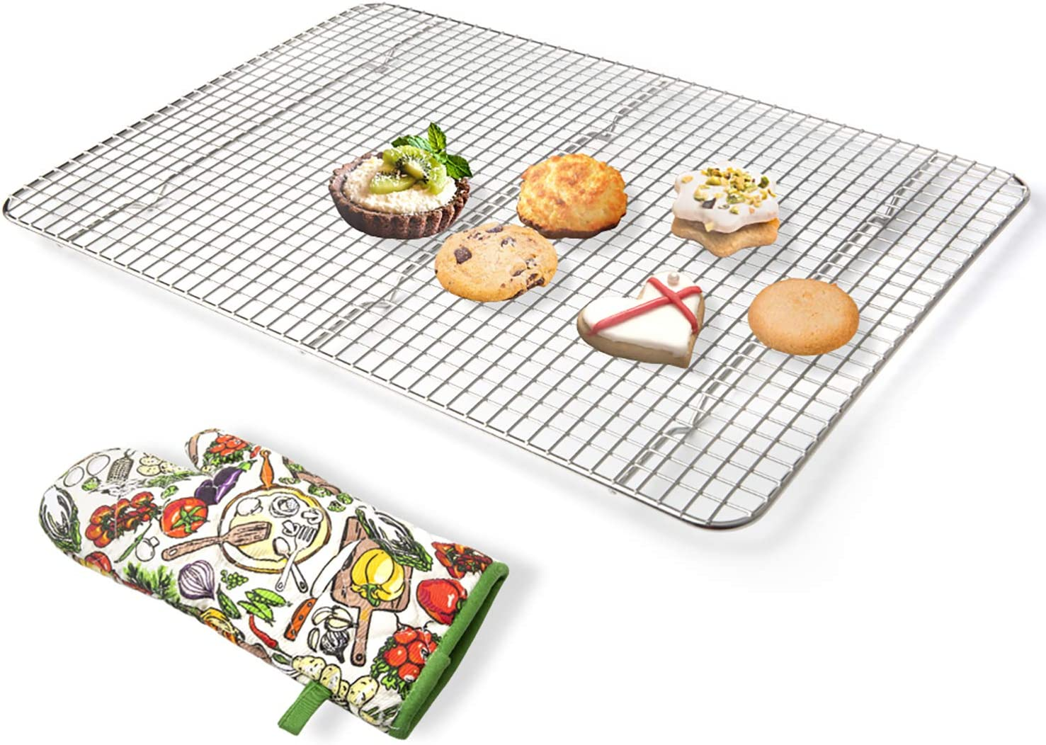 Secura Cooling Rack 100% 304 Stainless Steel Baking Rack, Wire Rack with Anti-scald Gloves for Baking, Cooking, Drying, Grilling, 12 x 17 Inches (Oven Safe & Dishwasher Safe)