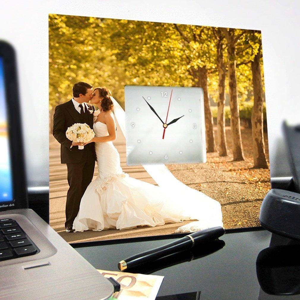 Personalized Wedding Photo Wall Clock Framed Mirror Custom Portrait Art Marriage Decor Gift Design