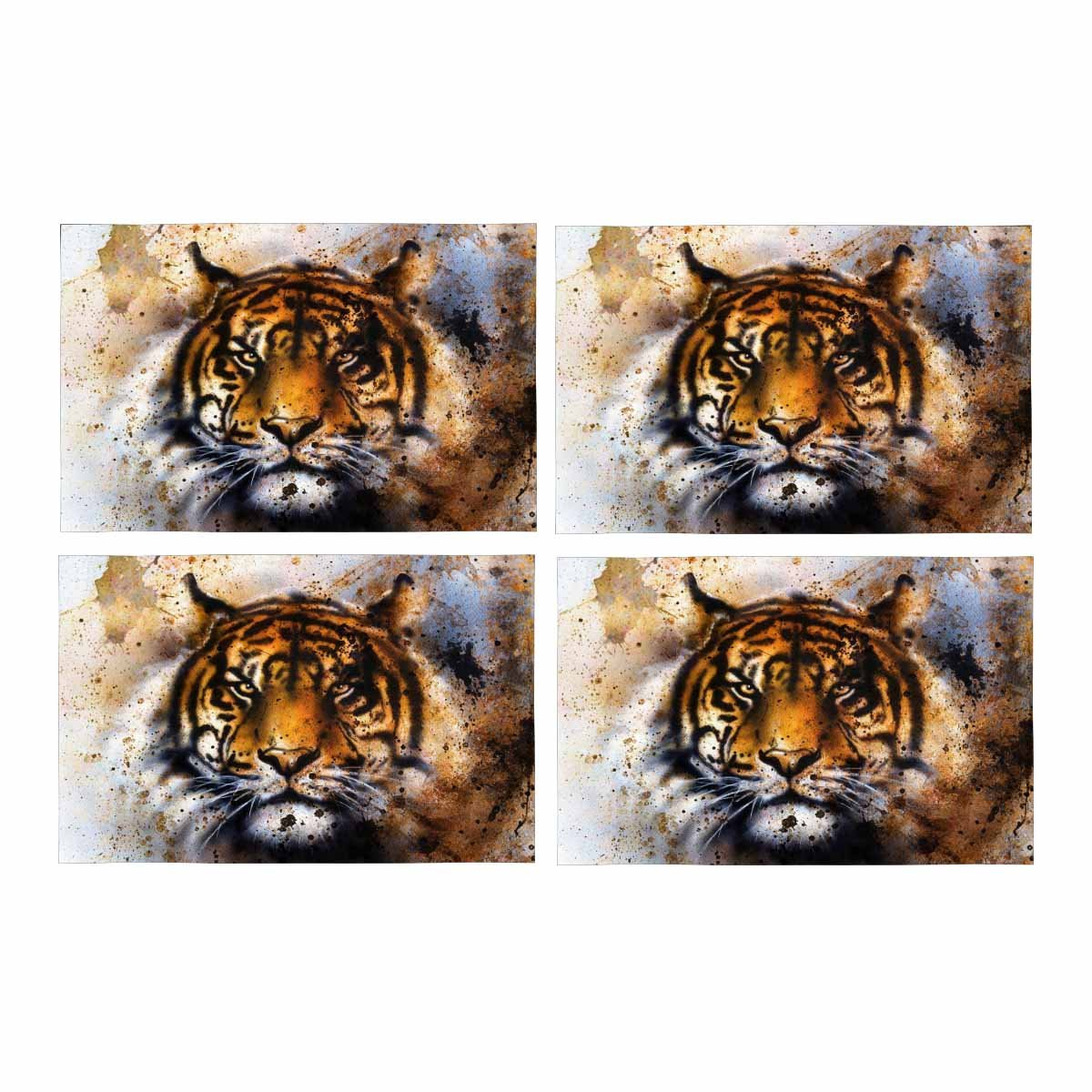 InterestPrint Tiger Collage Rust Structure Wildlife Animals Eye Placemat Table Mats Set of 4, Heat Resistant Place Mat for Dining Table Restaurant Home Kitchen Decor 12x18