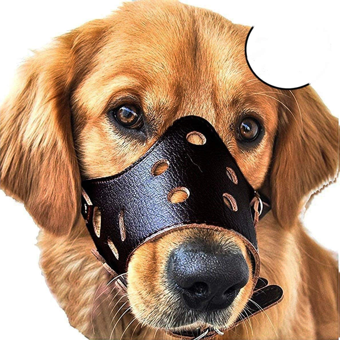 Black Small Black Small Adjustable Anti-Biting Dog Muzzle Leather Breathable Safety Pet Puppy Muzzles Mask for mall Medium Large Dogs Outdoor,Black,S