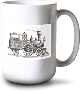 product image for Lantern Press Vintage Sketch Illustration of a Retro Steam Train on a White Background A-9010858 (15oz White Ceramic Mug)