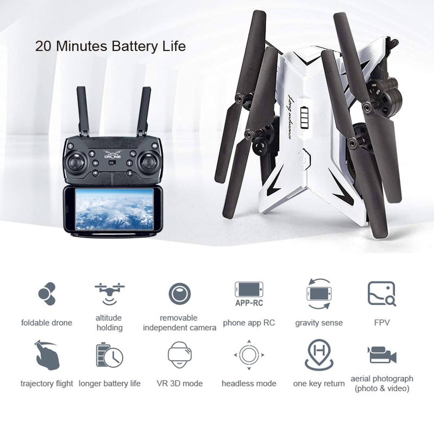 RC Foldable Selfi Drone Quadcopter RC Plane with HD 5mp WiFi FPV Camera Fly 25 Minutes VS ky101s ky501w dron,White601S 5mp 5b Bag