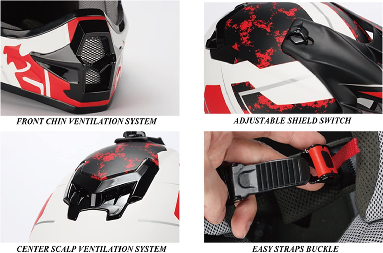 Large DOT Triangle Motorcycle Helmets Youth Off Road Sport ATV Motocross Dirt Bike White