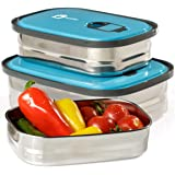 Bento Lunch Box Food Container Storage Set 3 In 1. Leak Proof Stainless Steel Can with Blue Lids. Healthy Takeaway - Kids - Adults For Outdoor Meals. BONUS-Enjoy Fun & Decorative Stickers. BPA Free