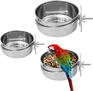 3 Pack Bird Feeding Dish Cups, Stainless Steel Bird Dishes Parrot Feeding Cups with Clamp Holder, Bird Bowls Water Bowls for Parakeet Cockatiel Parrot Chinchilla Small Animal