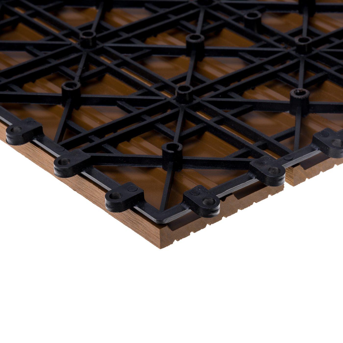 WPC Terrassenfliesen 11 St/ück 30x30 cm Mosaik, braun 1 qm Bodenfliesen Terrassenbelag Klickfliese