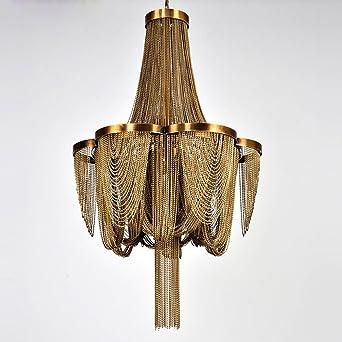 Wenrun Lighting Wohnzimmer Lobby Bronze Goldfarben Aluminium Kette Quaste  Kronleuchter Deckenlampen Hängelampe Lüster Leuchte Lampen Licht