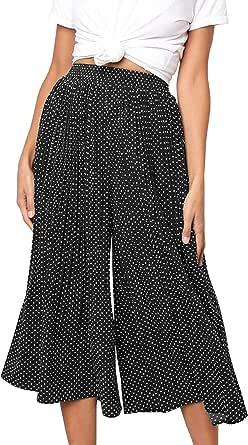 ebossy Women's Polka Dot Elastic Waist Pleated Flowy Wide Leg Cropped Palazzo Pant Culottes