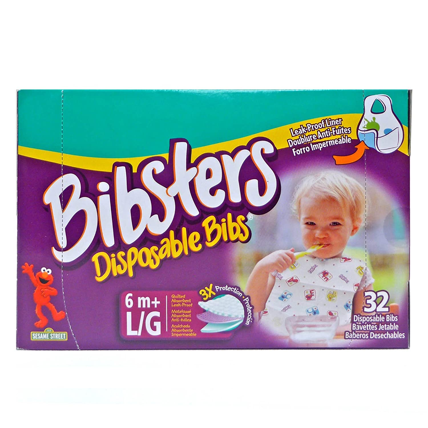 Bibsters Large Disposable Bibs - Multi - Unisex - 32 ct 037000407775