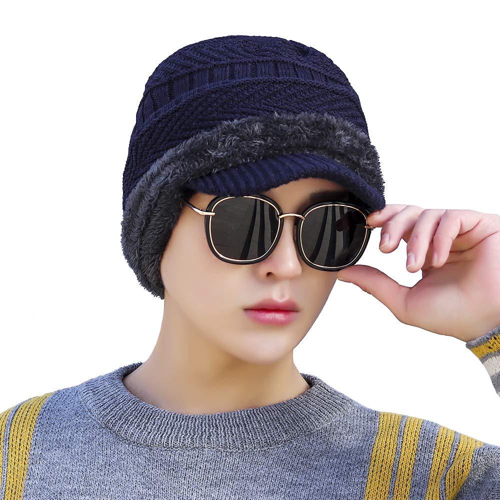 ORIDOOR Mens One-Piece Winter Beanie Visor /& Earflaps Scarf Set Warm Knit Fleece Lined Hat Thick Knit Skull Caps