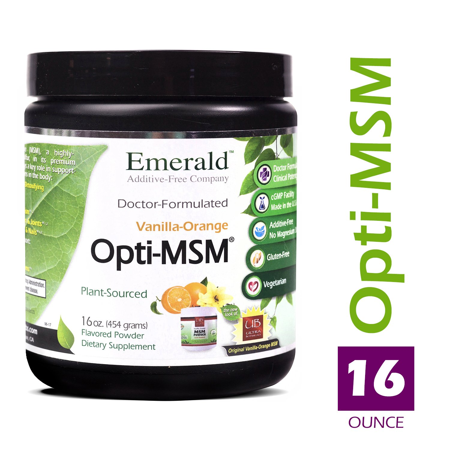 MSM Powder - Joint Support for Aches & Pains, Anti-Inflammatory, Stress Relief, Supports Digestive System, & Allergy Relief - Vanilla Orange Flavor - Emerald Laboratories (Ultra Botanicals) - 16 oz