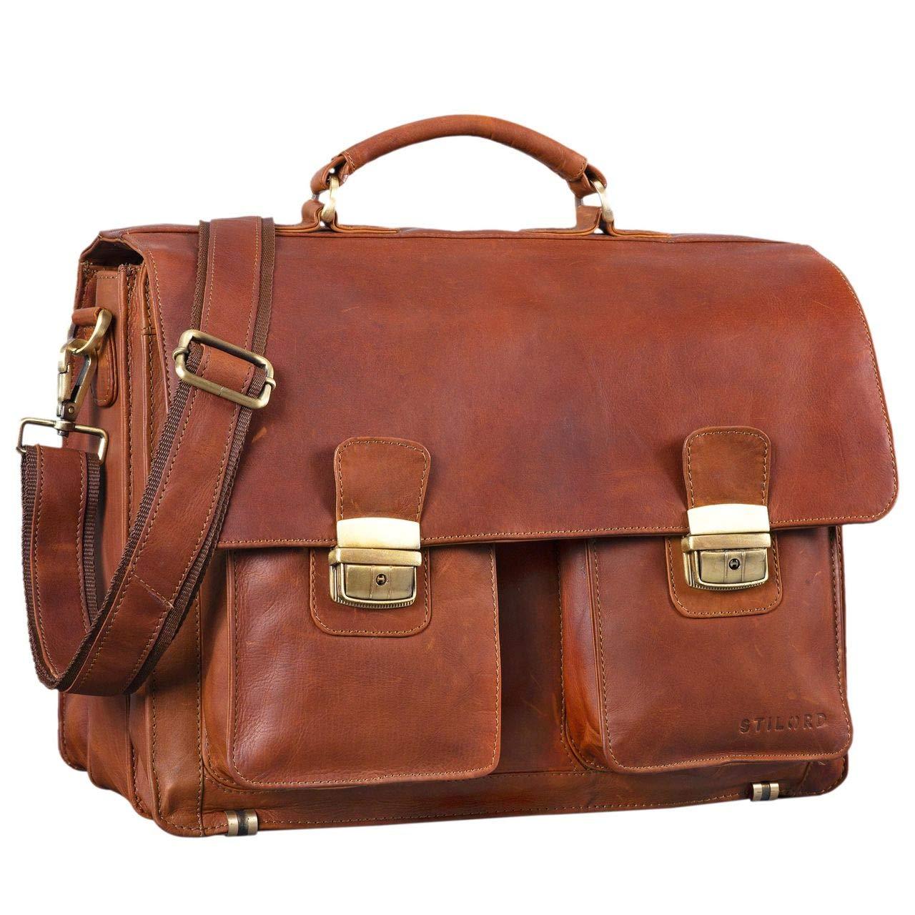 STILORD 'Atlas' Aktentasche Leder groß Vintage Lehrertasche Businesstasche Schultasche XL Bürotasche Herren Damen aufsteckbar echtes Rindsleder, Farbe:cognac - braun