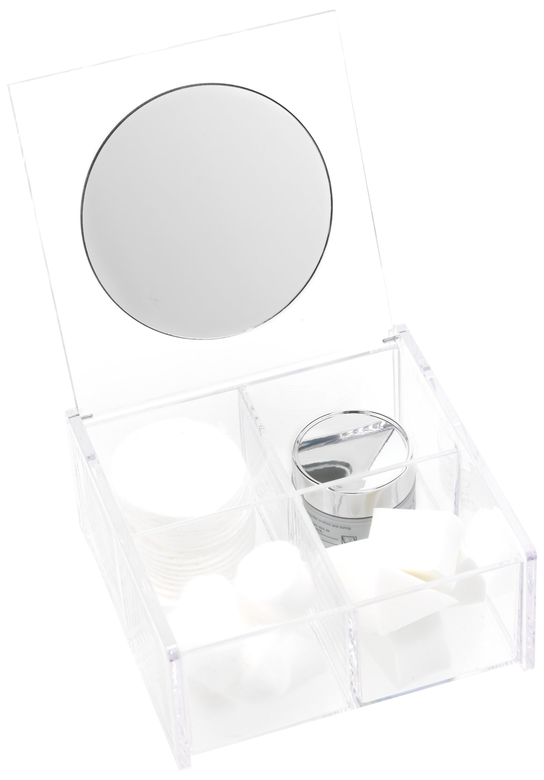 Danielle Creations 4-Compartment Acrylic Beauty Organizer with Flip-Up Mirror