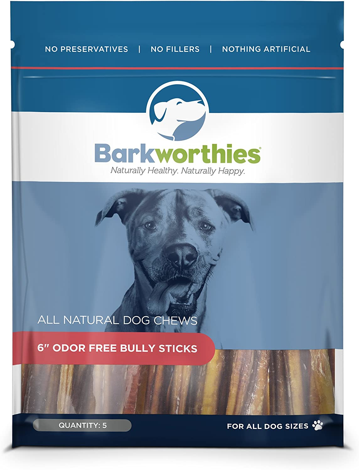 Barkworthies Odor-Free Bully Sticks 100% Natural Beef Dog Treats
