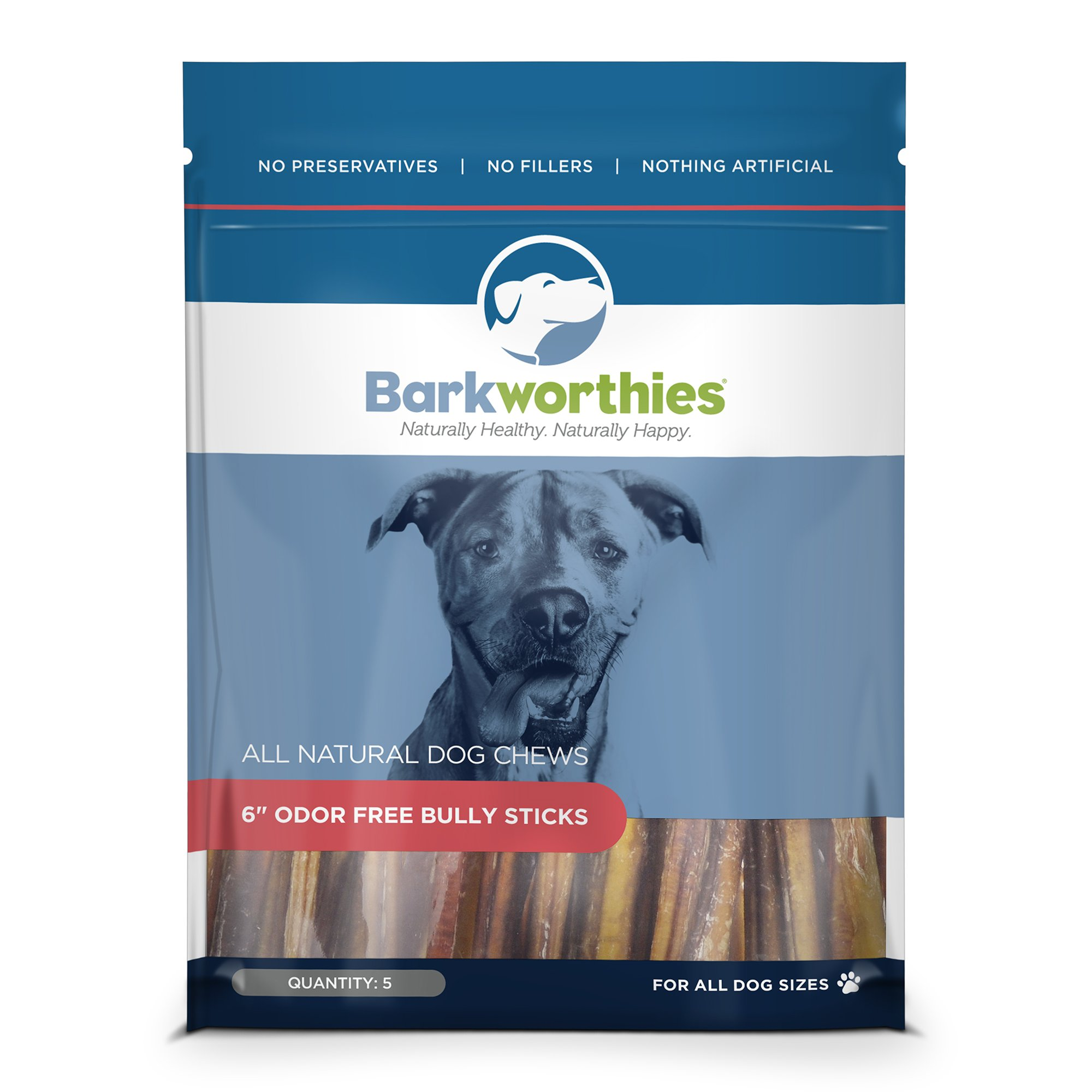Barkworthies Odor-Free Bully Stick Treat, 6'', (Pack of 5)