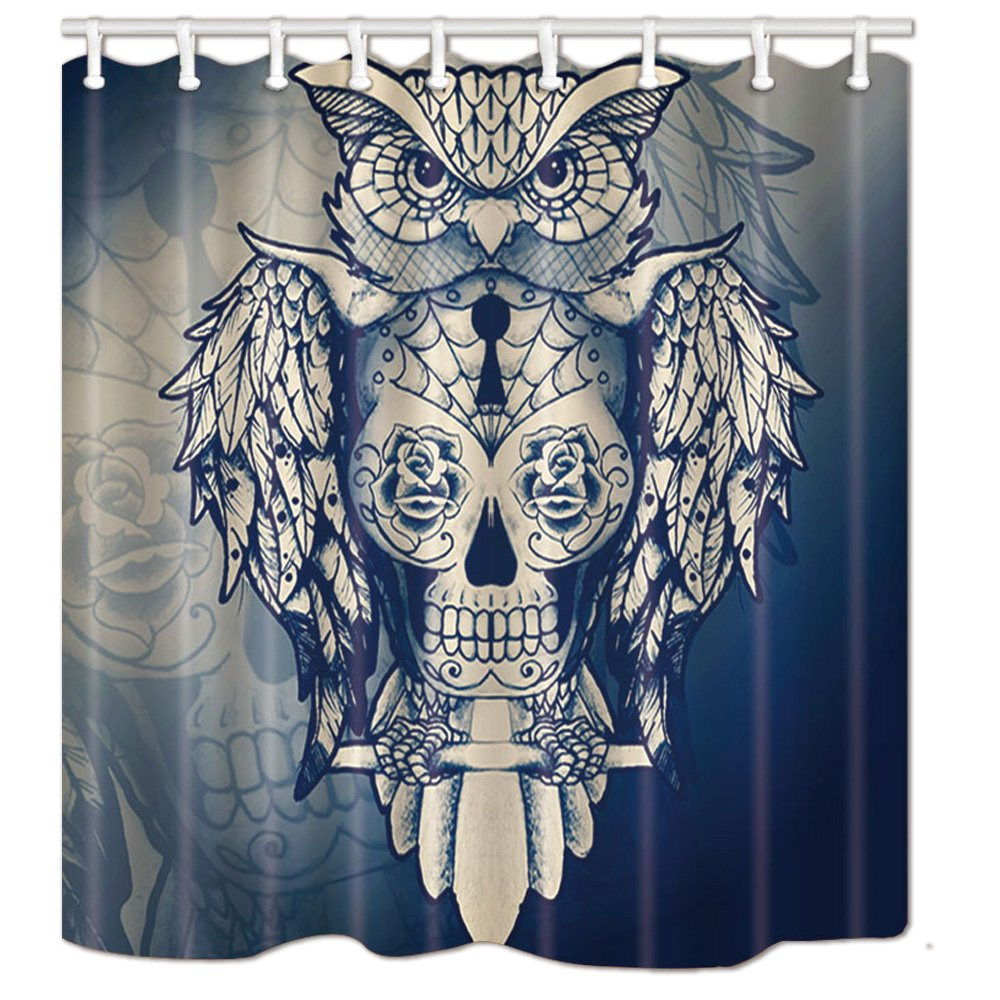 NHMQ Vintage Owl on Sugar Skull Shower Curtain, Halloween Decoration, Mildew Waterproof Resistant Fabric Bathroom Decorations, Bath Curtains Hooks in cluded, 69X70 inches