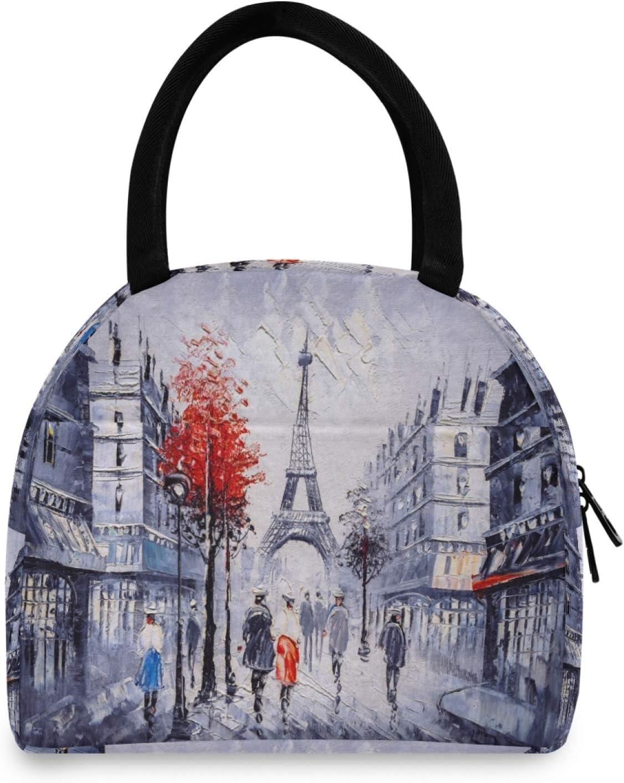 BGIFT Painting France Paris - Bolsa de almuerzo con aislamiento térmico para mujer, reutilizable, a prueba de fugas, para adultos, para niños, niñas, escuela, trabajo, picnic