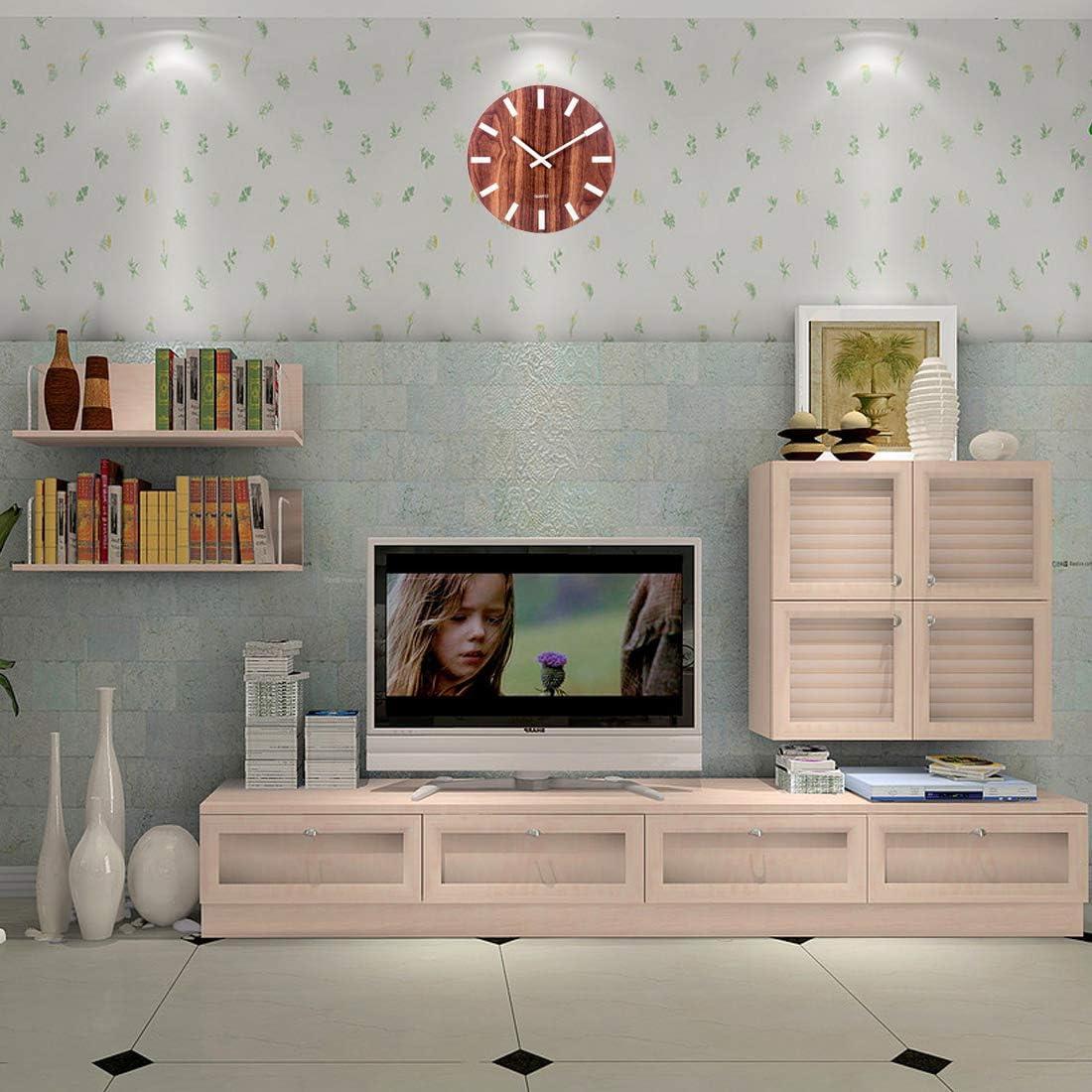30CM Silencieuse Bois Fluorescente Ronde Marron Pendule Murale D/écoratives pour Cuisine Style A Chambre Enfant Bureau Horloge Murale Lumineuse Salon Searchyou