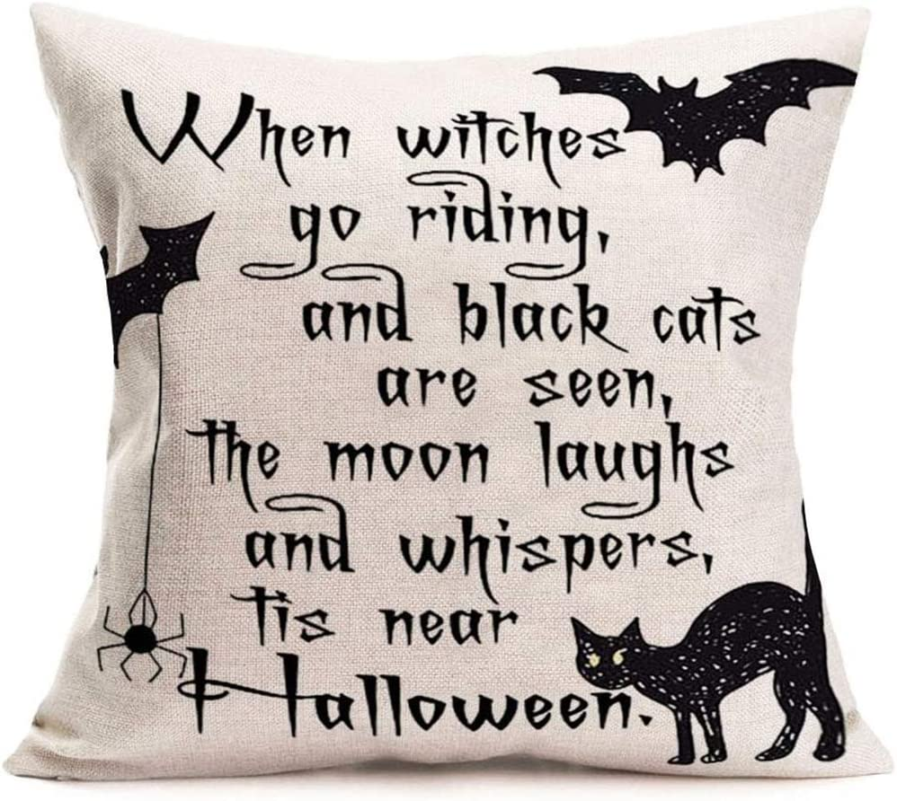 Doitely Halloween Decor Pillow Covers Cotton Linen When Witches Go Riding, and Black Cats are Seen, The Moon Laughs and Whispers Quote Saying Pillow Cases 18 x 18 Inch (Black Words19)