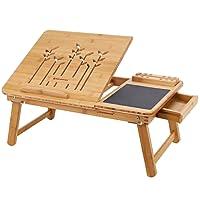 SONGMICS Klappbarer Laptoptisch für Sofa oder Bett, Betttisch mit Handy- & Stifthalter und Schublade, Neigungswinkel verstellbar Notebooktisch aus Bambus, 55 x 23 x 35 cm (B x H x T) LLD006