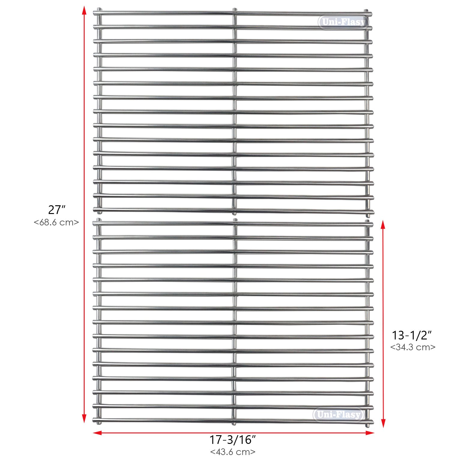 Uniflasy Stainless Steel Grill Cooking Grid Grates Replacement Parts for BHG BG1755B, Grillmaster 720-0697, Nexgrill 720-0697, Brinkmann 810-9490, Uniflame GBC981W and GBC940WIR Gas Grills