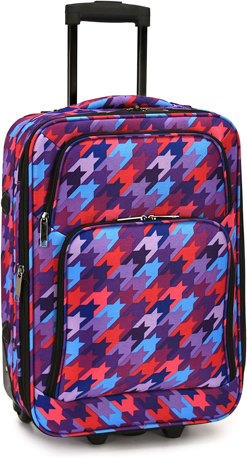 Elite Luggage Houndstooth Carry-On Rolling Luggage