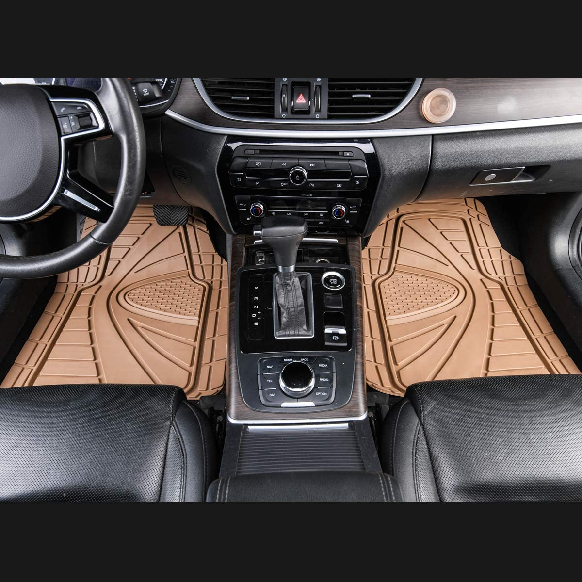 CAR-GRAND Universal Fit Heavy Duty All Weather Waterproof Rubber Car Floor Mats Front/&Rear 4 pieces Set