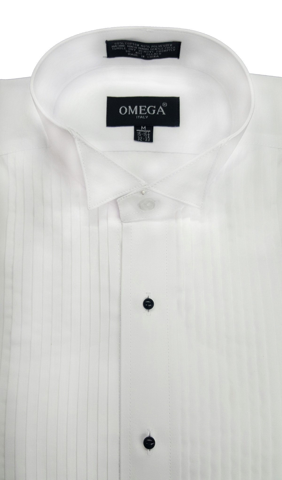 OmegaTux Mens Wing Collar Tuxedo Shirt, 1/4'' Pleat & Convertible Cuffs