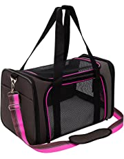 Pet Carrier Compatible Dog and Cats, Airline Approved Bag, Travel Collapsible for Small Puppy Up to 15lbs, Soft Side Dog Crate, Portable Kennel for Puppies