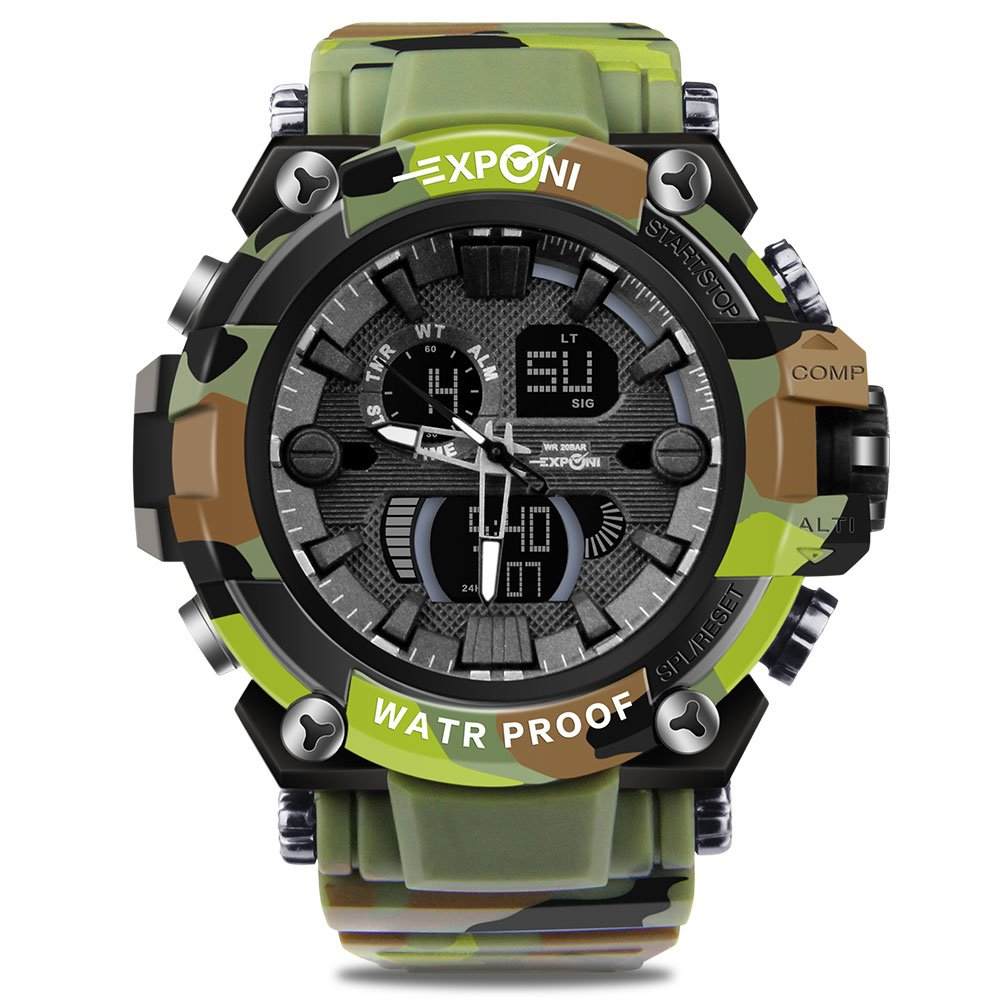 Men Digital Chronograph Watch Camouflage Military Army Wrist Watches LED Outdoor Sports Watch by THAITOO
