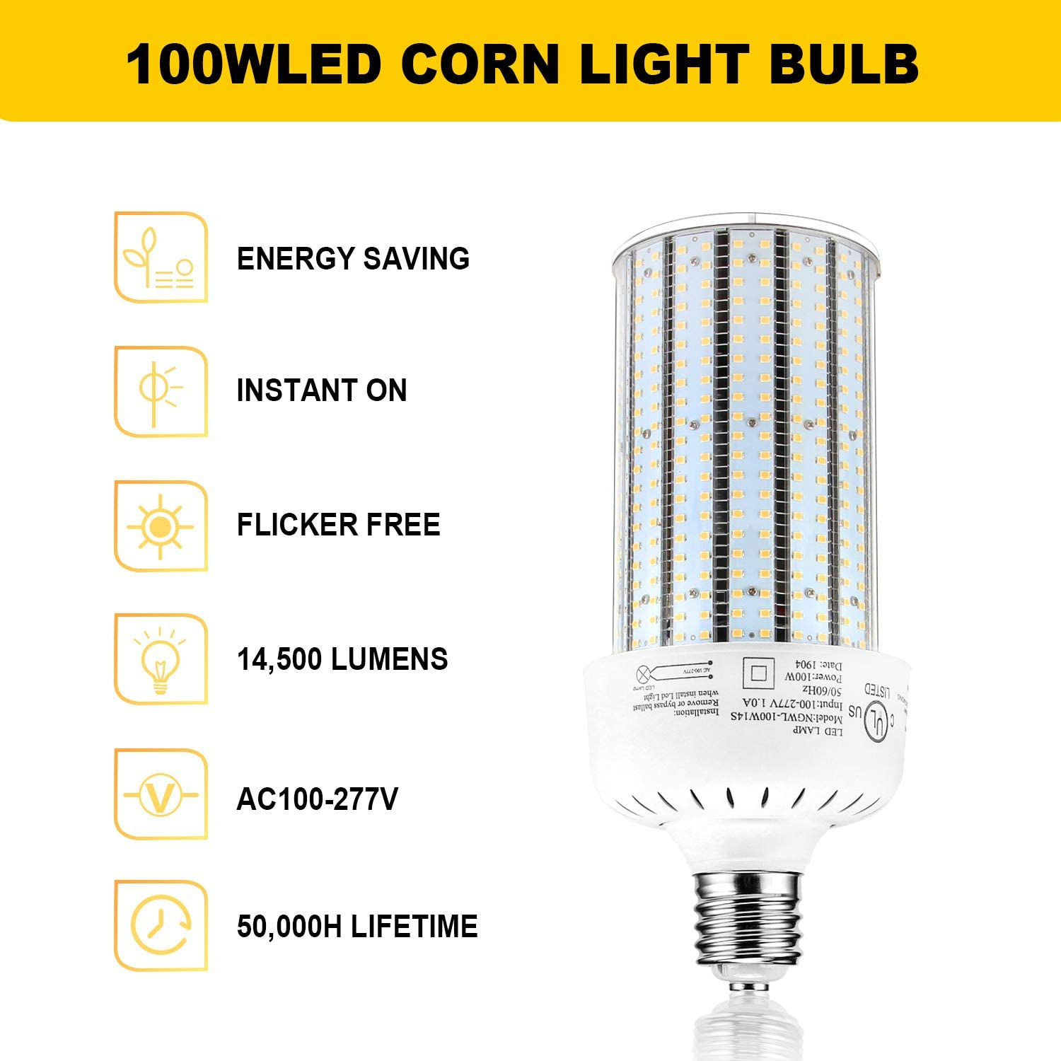 100 Watt Led Corn Cob Light Replace 400w Metal Halide E39 Mogul Base 6000k Daylight 13442lm Parking Lot Street Wall Pack Fixtures High Bay Fixture Ac100 277v Amazon Com