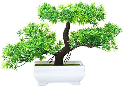 Artificial Plant Home Office Decoration Stylish Bonsai Tree in Square Pot