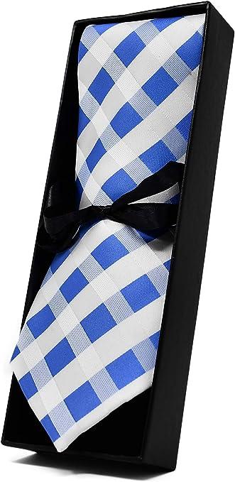 Qualité Homme Cravate Classique Homme Bleu clair tissé Micro Motif Carreaux Soie Cravatte