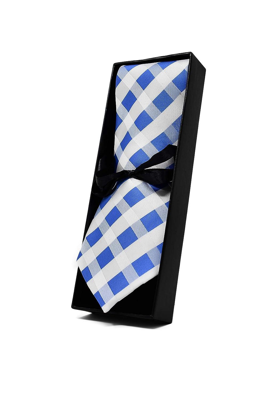 Oxford Collection Corbata de hombre Azul Claro y Blanco a Cuadros ...
