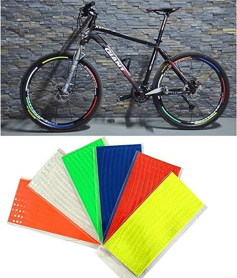 48 Rayas 6 Colores Fluorescentes MTB Bicicleta Reflector Cinta ...