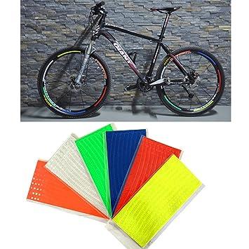 48 rayas 6 colores fluorescentes MTB bicicleta reflector cinta pegatinas para bicicleta Ciclismo Rueda Llanta Sticker: Amazon.es: Deportes y aire libre