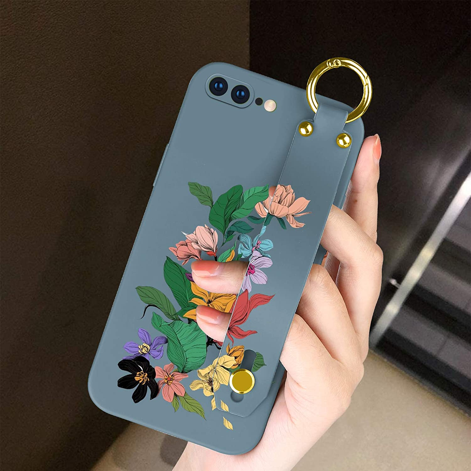 SAKUULO iPhone 8 Plus, iPhone 7 Plus Silicone Case with Wrist Strap Colorful Flowers Design Luxury Scratch Resistant Drop Protection Cover Slim Soft Case for iPhone 8 Plus, iPhone 7 Plus-Lavender Grey