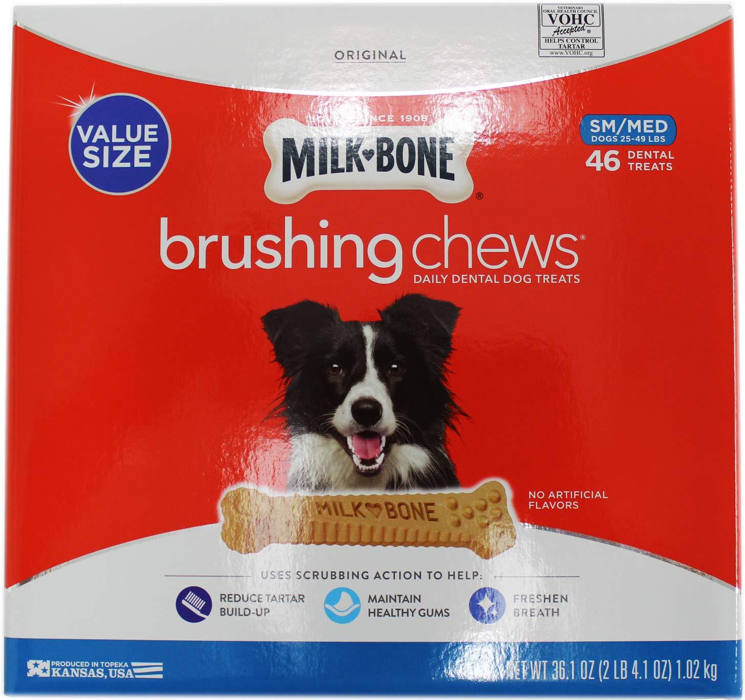 Milk-Bone Brushing Chews Daily Dental Treats, Small Medium, 46 ct
