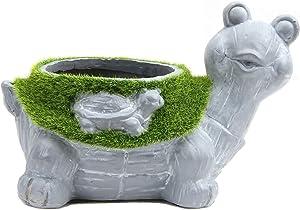 Leekung Turtle Plant Pot for Garden Decoration,Succulent Planter Bonsai Outdoor Flowerpot, Flocked Animal Flower pots Plant Holder Indoor Home décor Cement Color
