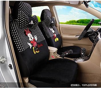 1 Set Beautiful Cartoon Car Seat Covers Full Steering Wheel Cover Black