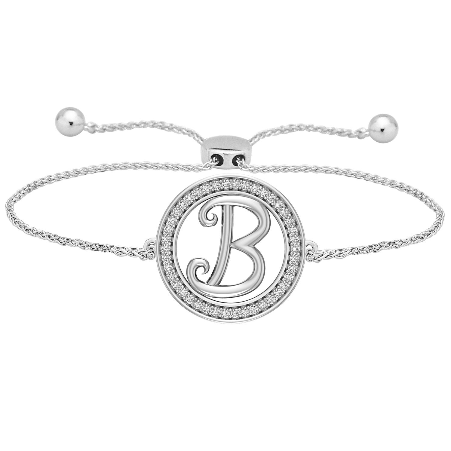 Carats For You Diamond Bracelet Initial Alphabet Letter A-Z Bolo Adjustable 0.20 Ct Birthday Mothers Day Gift (B)