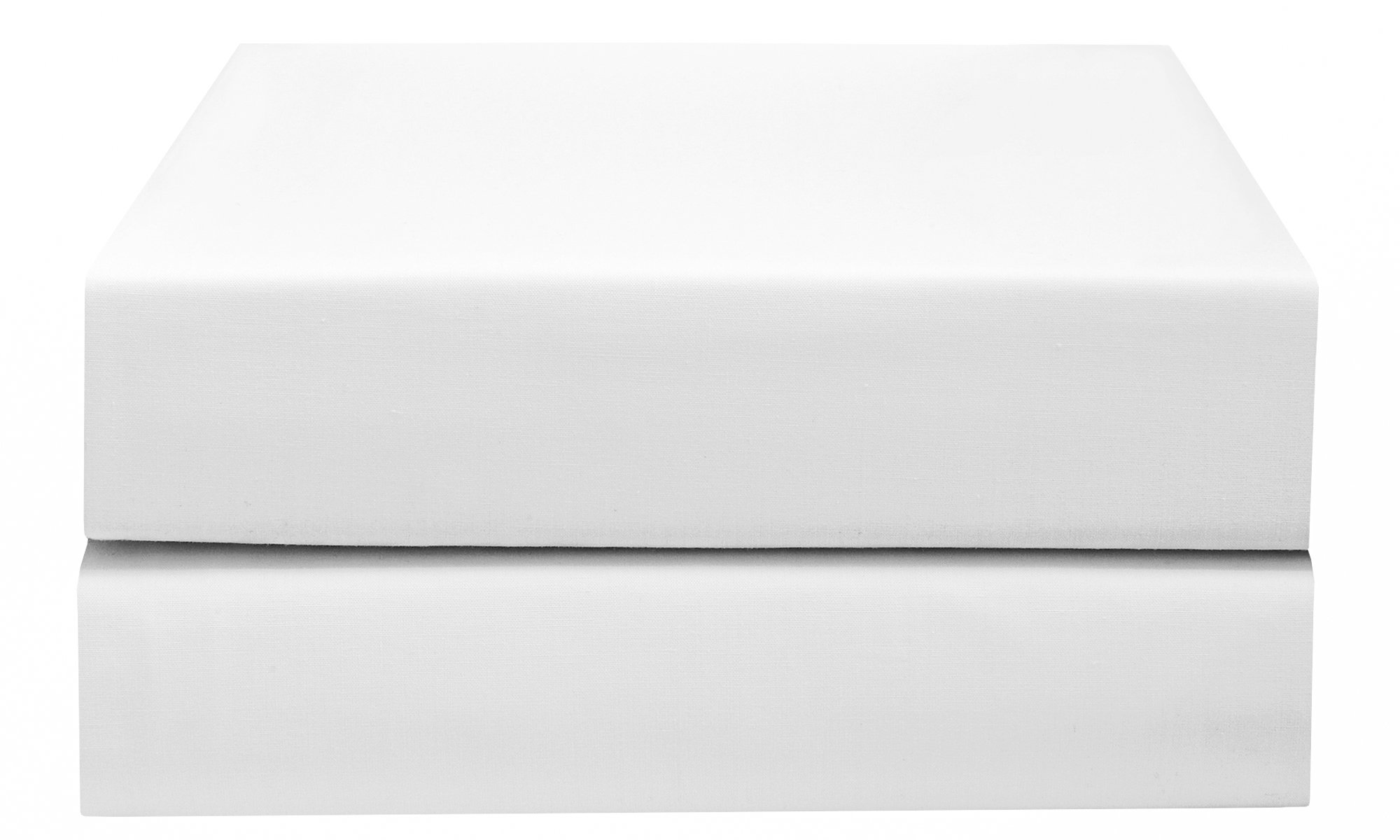 PHF Hotel Collection Flat Sheet 200T Cotton Polyester Percale 2 Pieces King Size White
