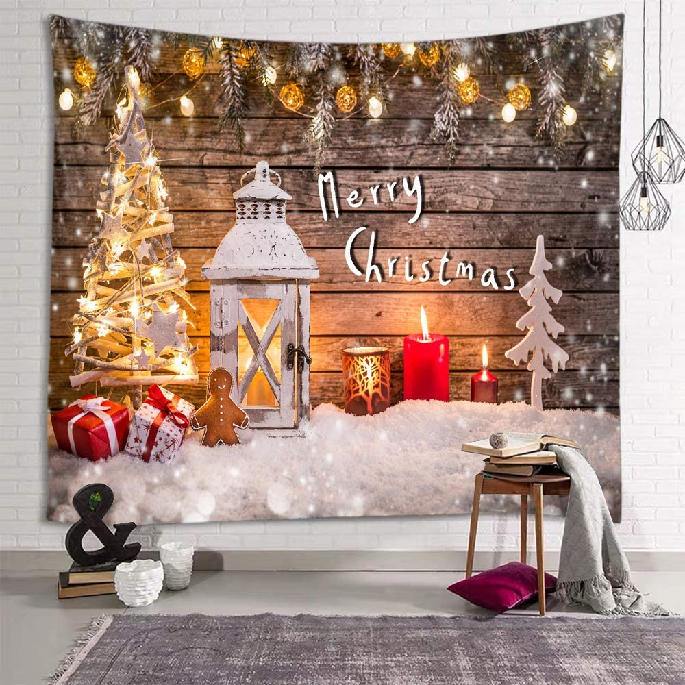 fangzhuo Christmas Tapestry Christmas Tree White Snow Wall Tapestry Christmas Decorative Props Wall Hanging Decor for Bedroom Livingroom Dorm Home W90 x L71