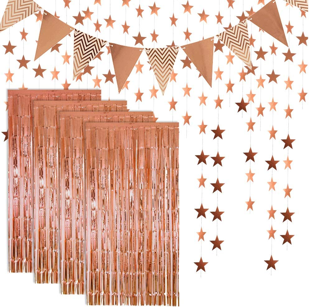 Rose Gold Foil Fringe Metallic Tinsel Curtains Photo Backdrop Set Flag Bunting Banner Glitter Paper Star Shape Garland For Birthday Wedding Bachelorette Party Photo Backdrop Door Wall Decorations Amazon Co Uk Kitchen Home