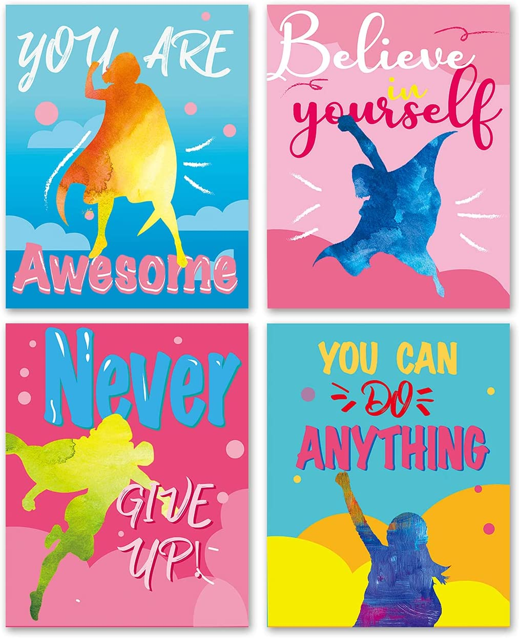 Inspirational Quote Super Girls Wall Art Prints Decor for Kids Teens Girls - Motivational Saying Wall Art Posters for Girls Room Girls Bedroom - Set of 4 (8