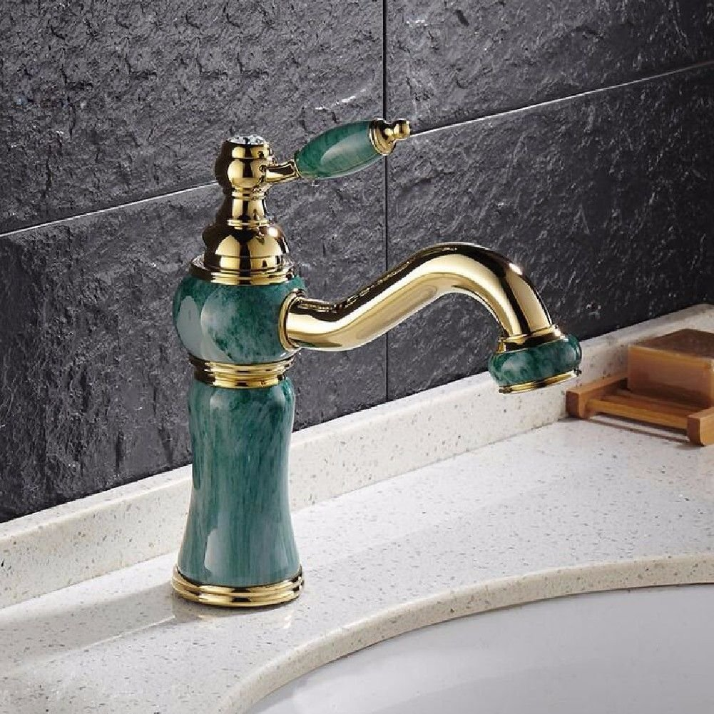 NewBorn Faucet Water Taps Hot And Cold Water The Bathrooms Like The Jade Painted gold Water Tap 360 redating Basin Mixer