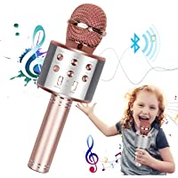 Karaoke Microphone for Kids Adults, Wireless 4 in 1 Handheld Bluetooth Microphone with LED Lights, Portable Smartphone…