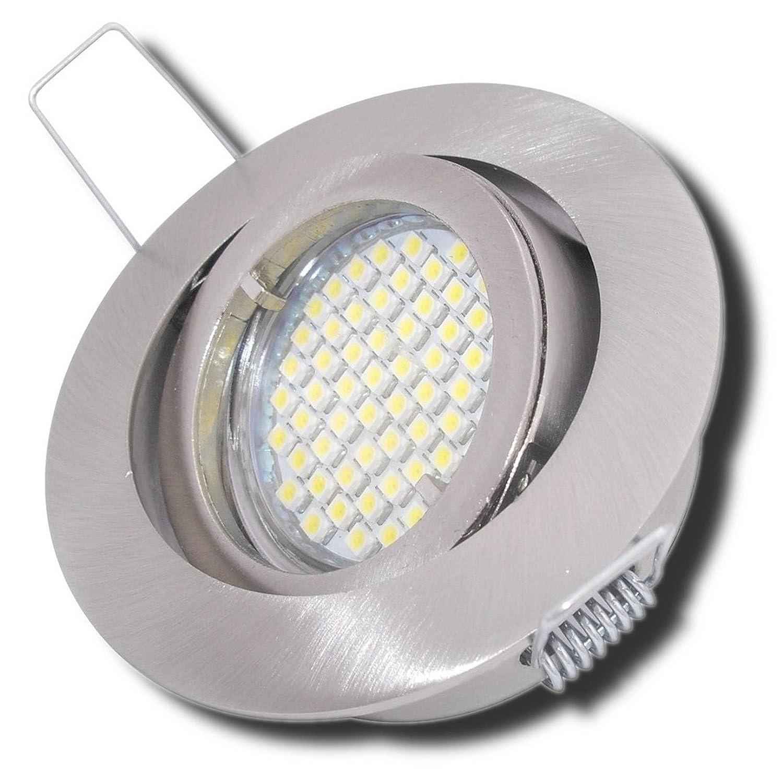 4 Stück SMD LED Einbauleuchte Laura 230 Volt 9 Watt Schwenkbar Edelstahl geb.   Neutralweiß